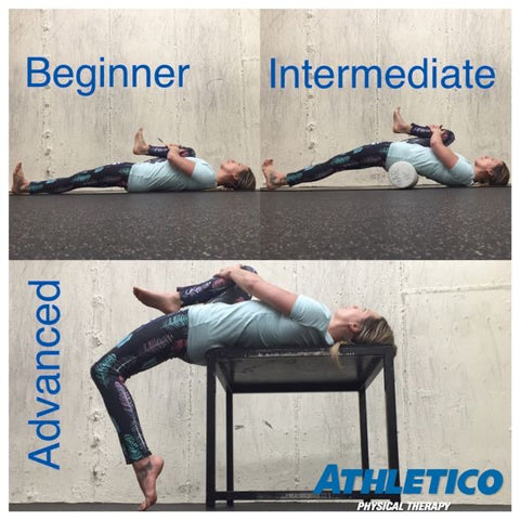 woman doing stretches for the psoas muscle that are labeled beginner, intermediate, and advanced