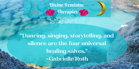 """quote that says """"Dancing, singing, storytelling, and silence are the four universal healing salves."""""""