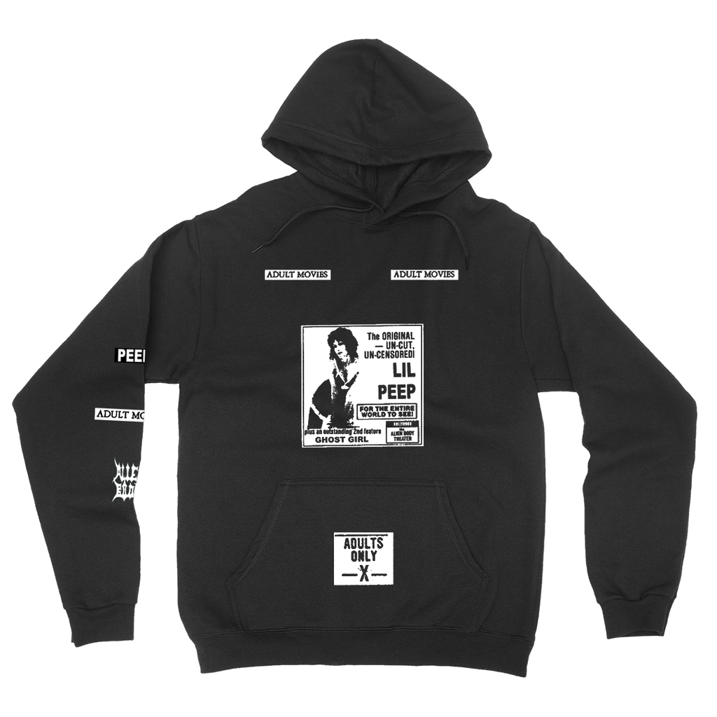 LIL PEEP x ALIEN BODY Adult Movies Hoodie (Black)