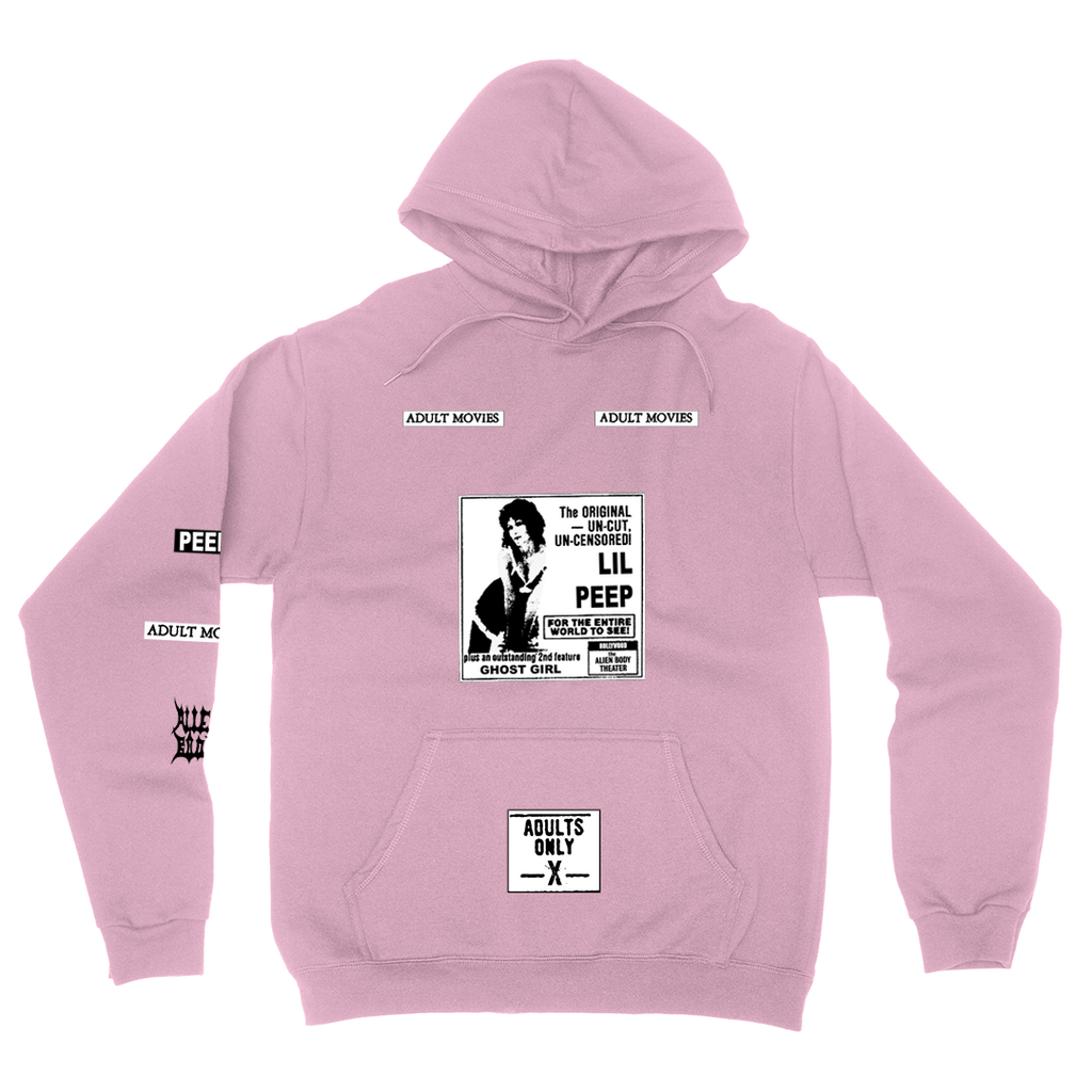 LIL PEEP x ALIEN BODY Adult Movies Hoodie (Pink)