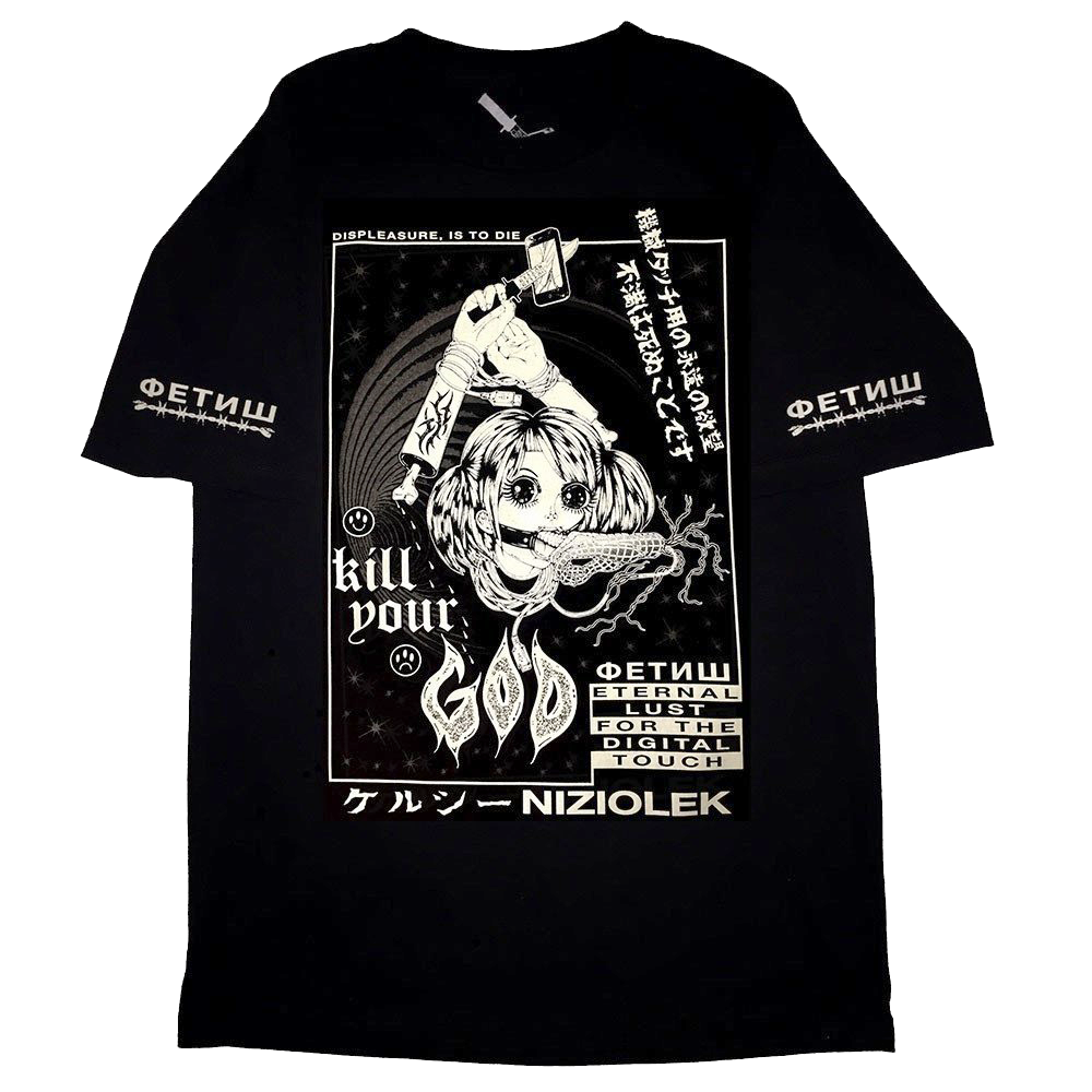 KILL YOUR GOD x KELSEY NIZIOLEK: DIGITAL TOUCH GLOW IN THE DARK & REFLECTIVE T-SHIRT