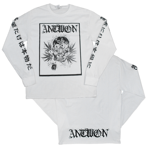 Weed Skull Long Sleeve Shirt (White)