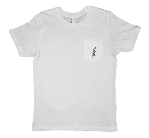 "White ""Undone"" Pocket Tee"