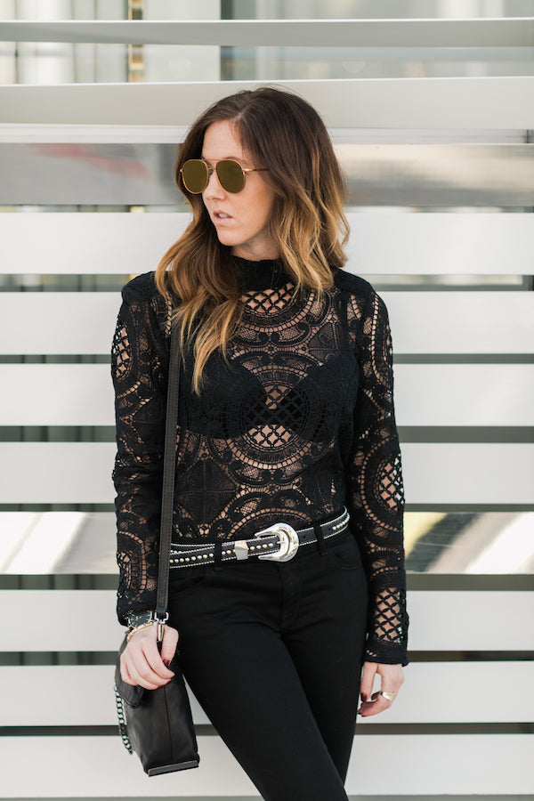 black lace shirt outfit