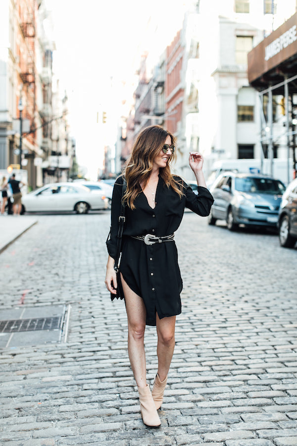 black shirtdress outfit