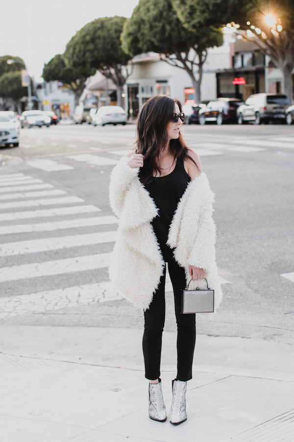 winter glam casual outfit