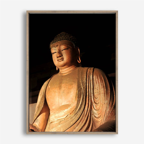 tableau statue bouddha or