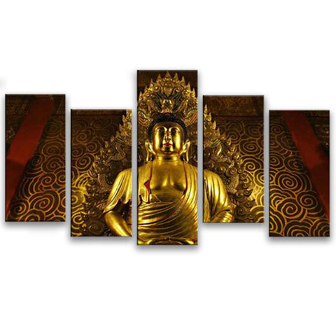 tableau statue bouddha or 5 parties