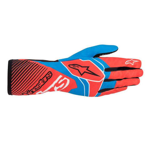 Alpinestar Gloves Tech 1 K Race V2 Red Fluro | Cobalt Blue