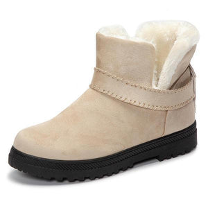 US Size 5-12 Fur Lining Snow Ankle Short Boots Round Toe Soft Winter Boots - Beige 12