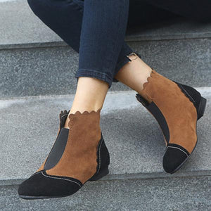 Color Block Round Toe Casual Boots