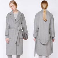 NANAMAKE™ Women's Polar Grey Wool Overcoat
