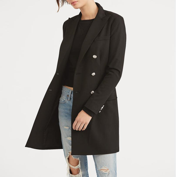 Women's Double-breasted Wool Peacoat
