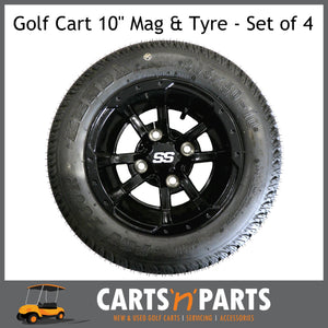 "Golf Cart Buggy Mags & Tyres -10"" Storm Trooper GLOSS BLACK SS centres-Wheels & Tyres-Carts N Parts"