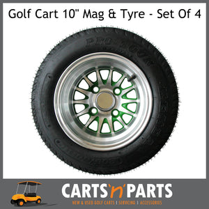"Golf Cart Buggy Mags & Tyres -10"" Medusa Machined Silver & Green SS centres-Wheels & Tyres-Carts N Parts"