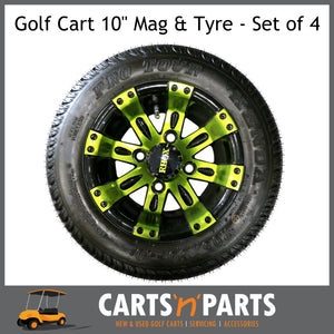 "Golf Cart Buggy Mags & Tyres -10"" inch ""VEGAS"" GLOSS Black & Green Wheel centres-Wheels & Tyres-Carts N Parts"