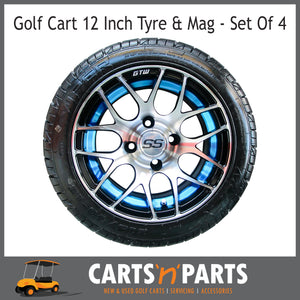 "Golf Cart Buggy Mags & Tyres -12"" GTW Machined Blue Pursuit SS centres-Wheels & Tyres-Carts N Parts"