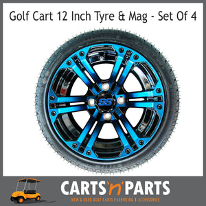"Golf Cart Buggy Mags & Tyres -12"" Spectre Blue & Black SS centres-Wheels & Tyres-Carts N Parts"