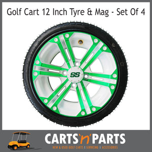 "Golf Cart Buggy Mags & Tyres -12"" Spectre Green & White SS centres-Wheels & Tyres-Carts N Parts"
