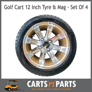 "Golf Cart Buggy Mags & Tyres -12"" Vegas Machined with Champagne RHOX centres-Wheels & Tyres-Carts N Parts"
