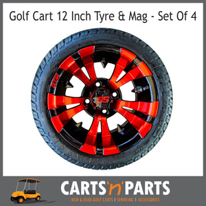 "Golf Cart Buggy Mags & Tyres -12"" Vampire Red & Black SS centres-Wheels & Tyres-Carts N Parts"