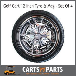 "Golf Cart Buggy Mags & Tyres -12"" GT Chrome-Wheels & Tyres-Carts N Parts"