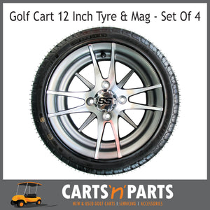 "Golf Cart Buggy Mags & Tyres -12"" 12 Spoke Machined SS centres-Wheels & Tyres-Carts N Parts"