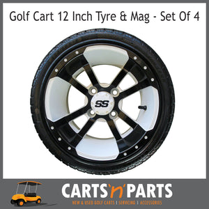 "Golf Cart Buggy Mags & Tyres -12"" Stormtrooper White & Black SS centres-Wheels & Tyres-Carts N Parts"