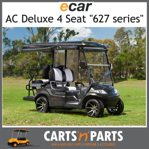Ecar AC POWER DELUXE 4 Seat NEW GOLF CART Buggy 627 Series Full Deluxe Package BLACK Standard SEAT D-New Golf Carts-Carts N Parts