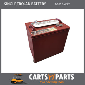 SINGLE TROJAN BATTERY 6 VOLT DEEP CYCLE T-105 225Ah 20Hr