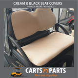 CREAM & BLACK NEW SEAT COVER SET - Click to Select Golf Cart Model