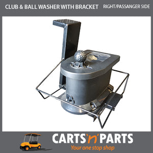 Club & Ball Washer With Bracket For Golf Cart - Right Hand Passenger Side with Bolts Mounts on Sweater Basket