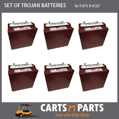 SET of 6 TROJAN BATTERIES 8 VOLT DEEP CYCLE T875 170Ah 20Hr