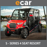 ECAR S SERIES 4 Seat Enclosed Golf Cart Buggy BRIGHT RED