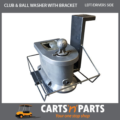 Club & Ball Washer with Bracket - Left hand Drivers side with bolts mounts on sweater basket