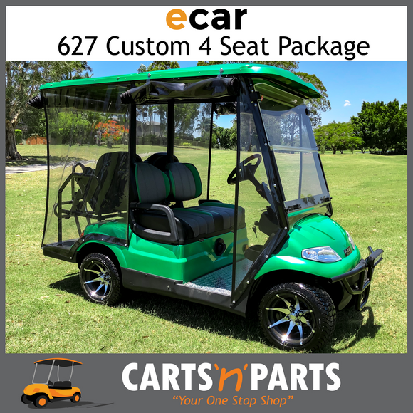 ECAR Custom Green 627 4 Seat Golf Cart Buggy Custom Mags Custom Seats Bull bar LED Lights-New Golf Carts-Carts N Parts
