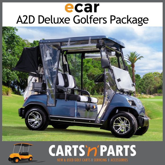 ECAR A2D GOLFERS DELUXE FULL PACKAGE NEW GOLF CART BUGGY 2 SEAT Navy Blue-New Golf Carts-Carts N Parts