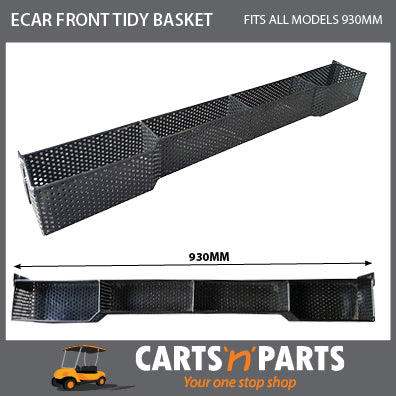 E Car Front Tidy Basket Metal Black 930mm wide 2 Seat Golf Cart