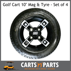 "Golf Cart Buggy Mags & Tyres -10"" inch ""The Claw"" Machined Black & Silver SS centres-Wheels & Tyres-Carts N Parts"