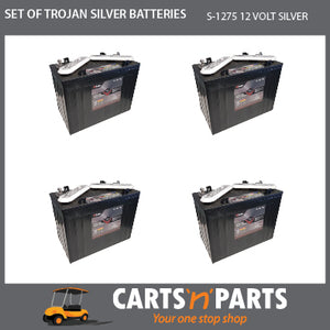 SET OF 4 TROJAN SILVER BATTERIES 12 VOLT DEEP CYCLE S-1275 145Ah 20Hr