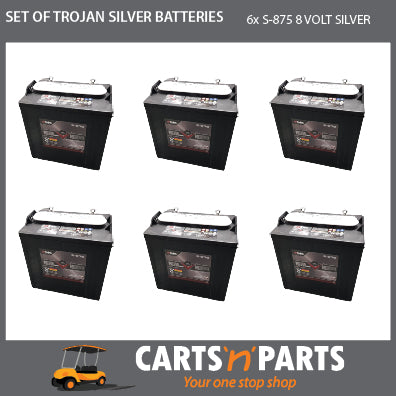 SET OF 6 TROJAN SILVER BATTERIES 8 VOLT DEEP CYCLE S-875 165Ah 20Hr