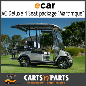 "Ecar AC POWER DELUXE 4 Seat NEW GOLF CART Buggy ""MARTINIQUE"" Full Deluxe Package Gunmetal Grey-New Golf Carts-Carts N Parts"