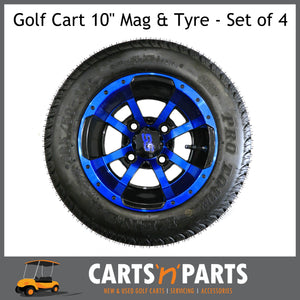 "Golf Cart Buggy Mags & Tyres -10"" inch ""Storm Trooper"" GLOSS Black & Blue SS centres-Wheels & Tyres-Carts N Parts"