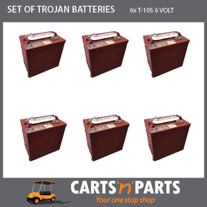 SET of 6 TROJAN BATTERIES 6 VOLT DEEP CYCLE T105 225Ah 20Hr