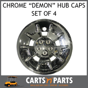 "Hub Caps Golf Cart Buggy 10"" Inch Chrome ""Demon"" SET OF 4-Parts & Accessories-Carts N Parts"
