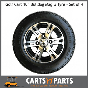 "Golf Cart Buggy Tyre and Mag Machined Aluminium ""BULLDOG"" 10 "" inch SET of 4-Wheels & Tyres-Carts N Parts"