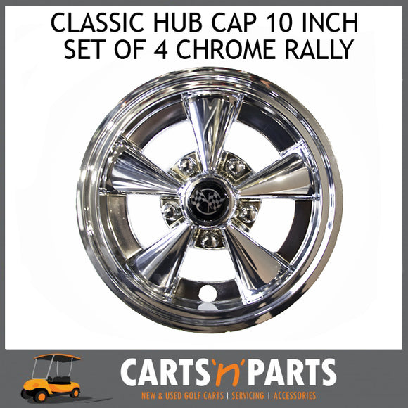 Classic HUB CAP 10 Inch SET OF 4 Chrome Rally-Parts & Accessories-Carts N Parts