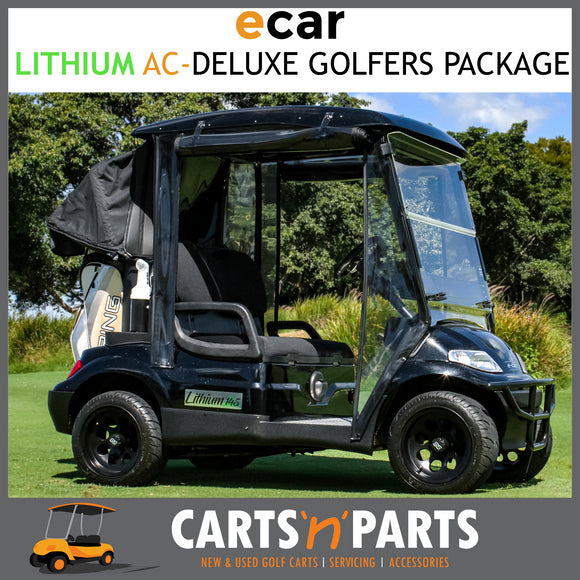 ECAR Lithium AC Power Golf Cart Buggy 2 Seat Black Golfers Deluxe Package-Carts N Parts