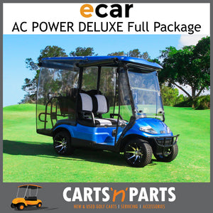 Ecar AC POWER DELUXE 4 Seat NEW GOLF CART Buggy 627 Series Full Deluxe Package Electric Blue-Carts N Parts