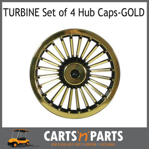 TURBINE 8INCH HUB CAP SET OF 4 GOLD & BLACK Golf Cart Buggy-Wheels & Tyres-Carts N Parts